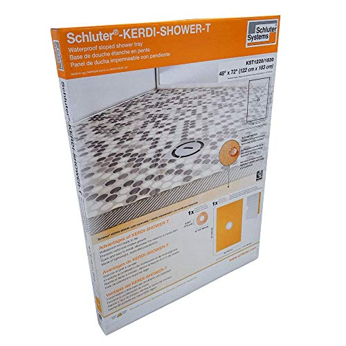 48 Center Drain Base - Schluter Kerdi 48-Inch x 72-Inch Shower Tray with Center Drain Placement
