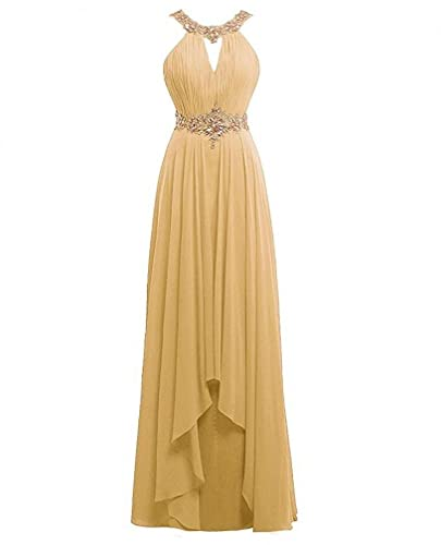 Himoda Women's Long Scoop Beaded Prom Gowns Chiffon Bridesmaid Dresses H019