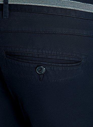 Oodji Azul Con Chinos Pantalones Ultra Acabado Cintura Hombre 7900n La En Decorativo rfwrqv