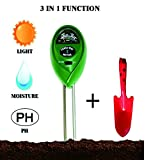 Soil pH Meter, 3-in-1 Soil Test Kit for Moisture, Light & pH, A Must Tool for Home, Garden, Lawn, Farm, Plants, Herbs & Gardening Tools, Indoor/Outdoors Plant Care Soil Tester (No Battery Needed)
