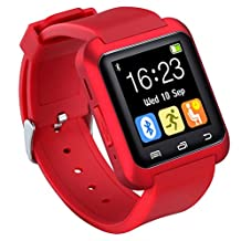 U80 Smart Watch Bluetooth 4.0 for Sports & Health Anti-lost Wrist Wrap Watch Phone Mate for Smartphones IOS Android Apple iphone 5/5C/5S/6/6 Puls (Red)