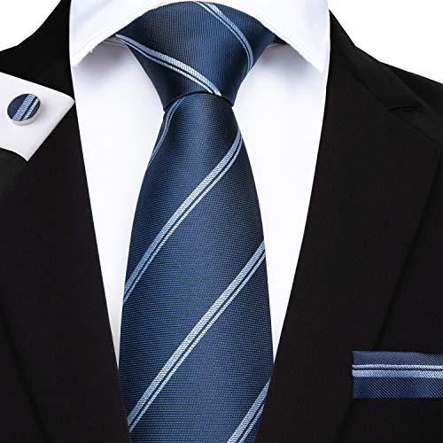 DiBanGu Men's Silk Tie and Pocket Square Stripe Woven Tie Cufflink Clip Set Business (Navy) ()
