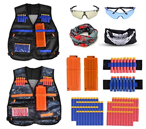 Fstop Labs 2 Pack Set Kids Tactical Jacket Vest Kit for Nerf N-Strike Gun Wars, 80 x Refill Darts, 2 x Reload Clips, 2 x Face Mask, 2 x Wrist Band, 2 x Protective Glasses Goggles