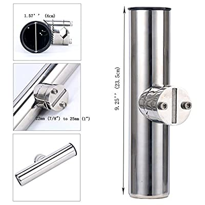 "Amarine-made Stainless Clamp on Fishing Rod Holder for Rails 22mm (7/8"") to 25mm (1"") diam"