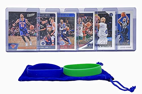 Minnesota Timberwolves Basketball Cards: Karl-Anthony Towns, Taj Gibson, Derrick Rose, Andrew Wiggins, Robert Covington, Jeff Teague, ASSORTED Basketball Trading Card and Wristbands Bundle ()