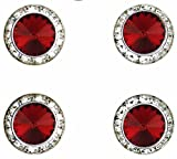 Horse jewelry magnetic contestant show number pins Scarlet Swarovski crystal set of 4
