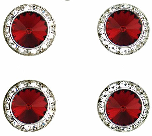 Horse Show Jewelry - Horse jewelry magnetic contestant show number pins Scarlet Swarovski crystal set of 4