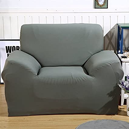 SHANNA Funda de sofá 1 2 3 4 Funda de sofá Funda de Asiento Antideslizante sofá sofá sofá elástico Tejido Protector por, Gris, 1-Seater Chair + 1pcs ...