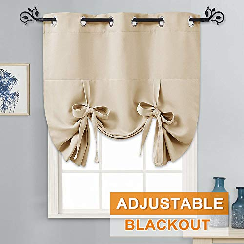 PONY DANCE Window Valance for Kitchen - Tie Up Blackout Shade Grommet Door Curtain Drapery Small for Home Decoration Adjustable Balloon Valance, Set of 1, W 46 x L 63 in, Biscotti Beige