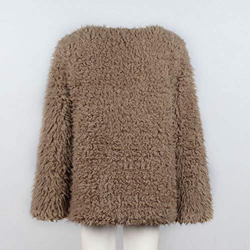 Doux Chaud Fausse Fourrure Kaki D'autruche Vêtements Épais Manche Electri Pulls Plume Hiver Femmes Outwear Pardessus Fluffy Court Longues Manteau D'extérieur Parka qn01YR1