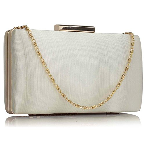 Ivory Bridal Women Plain Bags Satin Satin Prom Evening Hard Compact Medium Xardi London Clutch Baguette Ladies zOU4Uxq