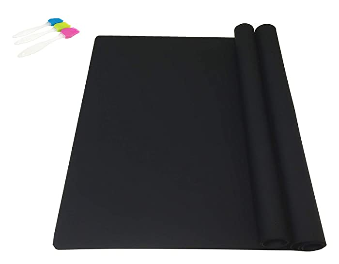EPHome 2Pack Extra Large Multipurpose Silicone Nonstick Pastry Mat, Heat Resistant Nonskid Table Mat, Countertop Protector, 23.6''15.75'' (Black)