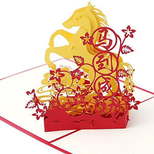 Wivily Horse Design 3D Pop Up Greeting Card Handmade Happy Birthday Wedding Anniversary Friendship Merry Christmas Best Wish Good Luck Happy New Year