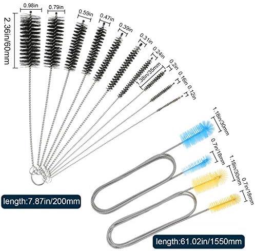 Juego de 12 cepillos de filtro de acuario de nailon para tubo flexible de doble punta para manguera de acero inoxidable 4