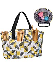 Yarn Storage Tote, Tangle Free with 3 Oversized Grommets, Knitting and Crochet Organizer, Carrying Projects Supplies Bag with Drawstring Closure (Yellow)