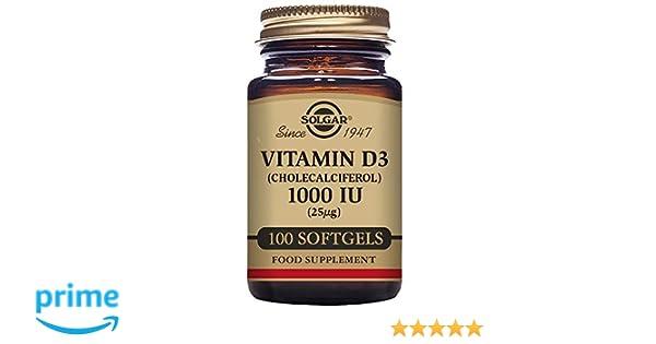 Solgar Vitamina D3 1000 UI (25 µg) Cápsulas blandas - Envase de 100: Amazon.es: Salud y cuidado personal