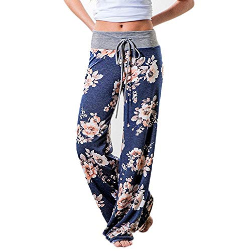 Adeliber Women's Comfy Casual Pajama Pants Floral Print Drawstring Palazzo Lounge Pants Wide Leg Blue]()