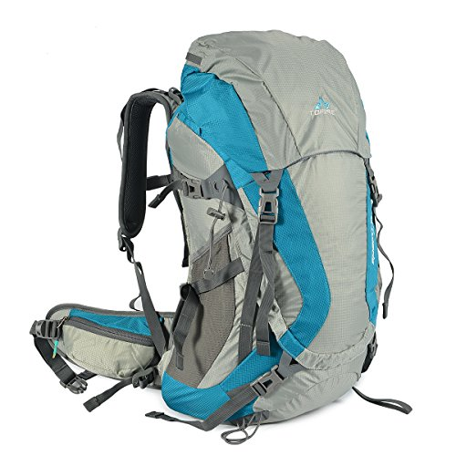TOFINE External Frame Backpack with Padded Strap Survival Whistle Buckle Hiking Day Backpacking with Rain Cover Tiffany 48 Liter