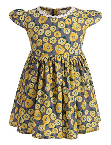 Dillards Dresses For Kids (Abaosisters Girls Cap Sleeves Zipper Back Floral Dress 3-8 Year Old Yellow 6-7 yrs)