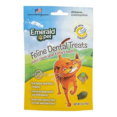 Emerald Pet - Feline Dental Treats, Dental Stick, Cat Chews for Teeth Cleaning, Freshens Breath, Reduces Plaque and Tartar, Grain-Free (Feline Dental Treat, 3 Ounce)