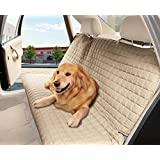 Elegance Linen® Quilted Design %100 Waterproof Premium Quality Bench Car Seat Protector Cover (Entire Rear Seat) for Pets - TIES TO STOP SLIPPING OFF THE BENCH , Beige