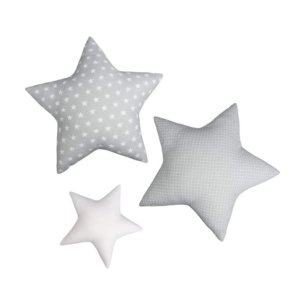 Star LULANDO 3 Star Shaped Cushions Cotton Cushion Three Colors for Children Standard 100 by Oeko-Tex Stars Grey Class I Unique Room Decoration Cushion Decorative Cushion