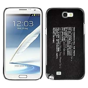 YiPhone /// Prima de resorte delgada de la cubierta del caso de Shell Armor - Take Chances Live Life Regret Nothing - Samsung Galaxy Note 2 N7100