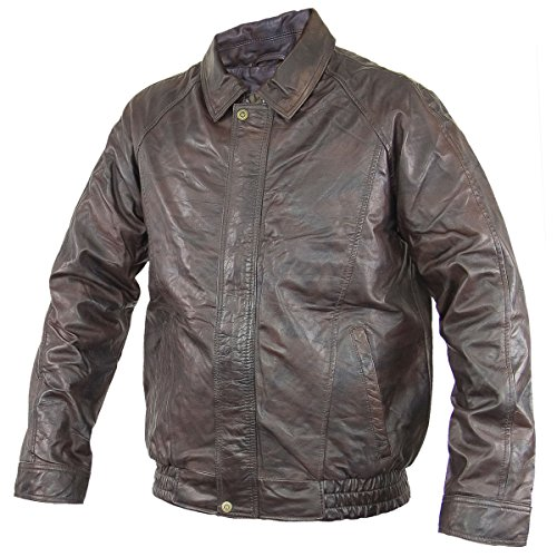 Mens Distressed Brown Bomber Leather Jacket - (Distressed Leather Bomber)