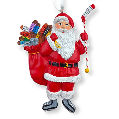 chalktalksports hockey santa resin christmas ornament 4 12