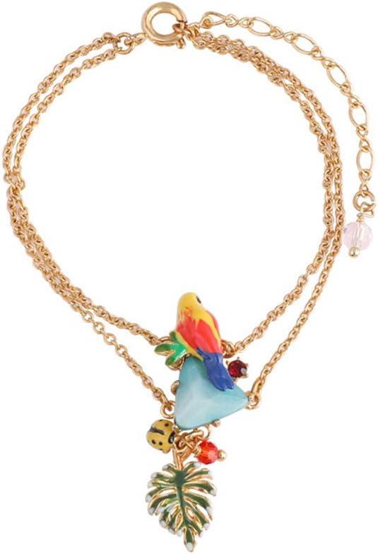 LCDYJane Color Parrot Azul Turquesa Hoja Doble Cadena Chapado En Oro Pulsera Pulsera De Micro-Incrustaciones De Esmalte Dulce Chapado En Oro Y Diamantes.