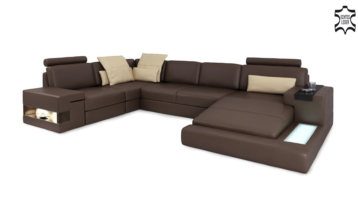 Eck ledersofa braun for Couch xxl u form