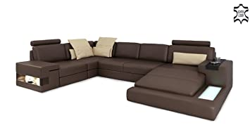 Eckcouch u form  Ledersofa braun XXL Wohnlandschaft Leder Couch Sofa U-Form Ecksofa ...