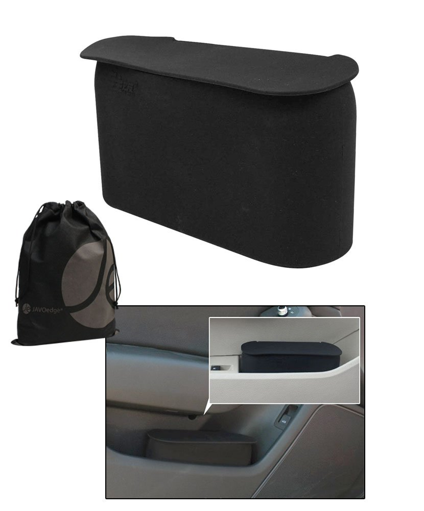 JAVOedge 2 Pack Black Small Car Trash Can with Lid, Flexible Material, Fits in Most Side Doors 4350408489