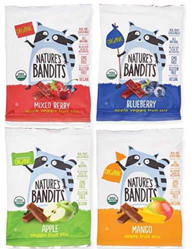 Nature's Bandits Organic Fruit & Veggie Stix (Variety -4 Flavors), Kid's 0.6 oz Value Pack - 24 Bags (Vegan, Gluten-Free, -