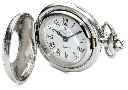 Charles-Hubert, Paris 6815 Classic Collection Chrome Finish Brass Quartz Pendant Pocket Watch Brass Quartz Pocket Watch