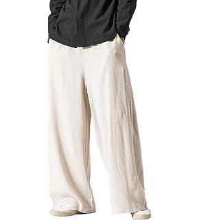BU2H Men Classic Elastic Waist Linen Drawstring Casual Harem Pants