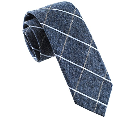 Casual Skinny Cotton Necktie Plaid Slim Ties 2(1/2) Steel Blue TC022