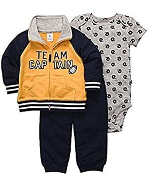 Carters Infant Boys Team Captain Football Outfit Pants Creeper & Varsity Jacket