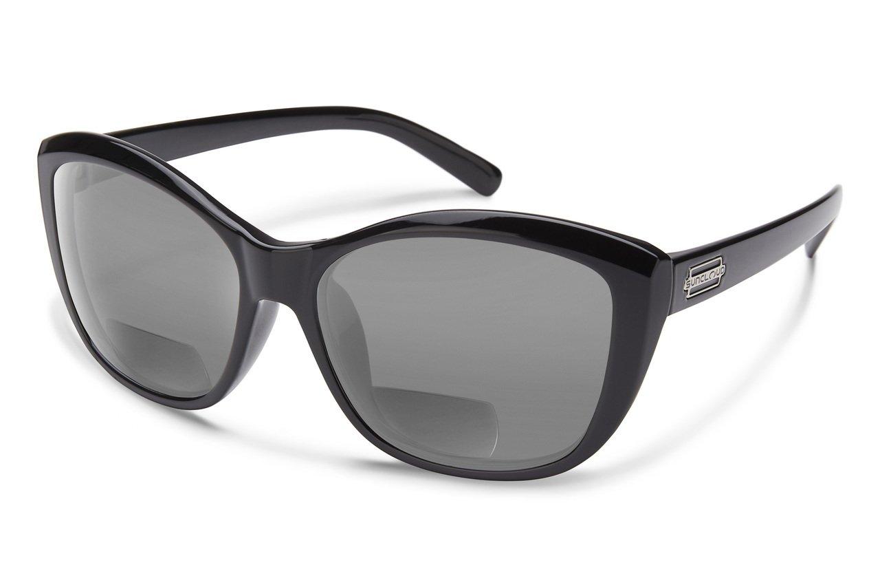 Suncloud Skyline Polarized Bi-Focal Reading Sunglasses in Gloss Black with Grey Lens +1.50