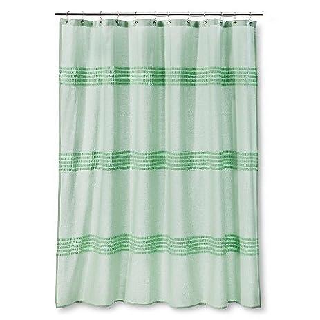 threshold seersucker green pleated shower curtain cotton 72u0026quot x