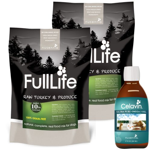 (2) Bags Turkey FullLife Grain-free Dog Food + Free Celavin Omega-3 Fish Oil