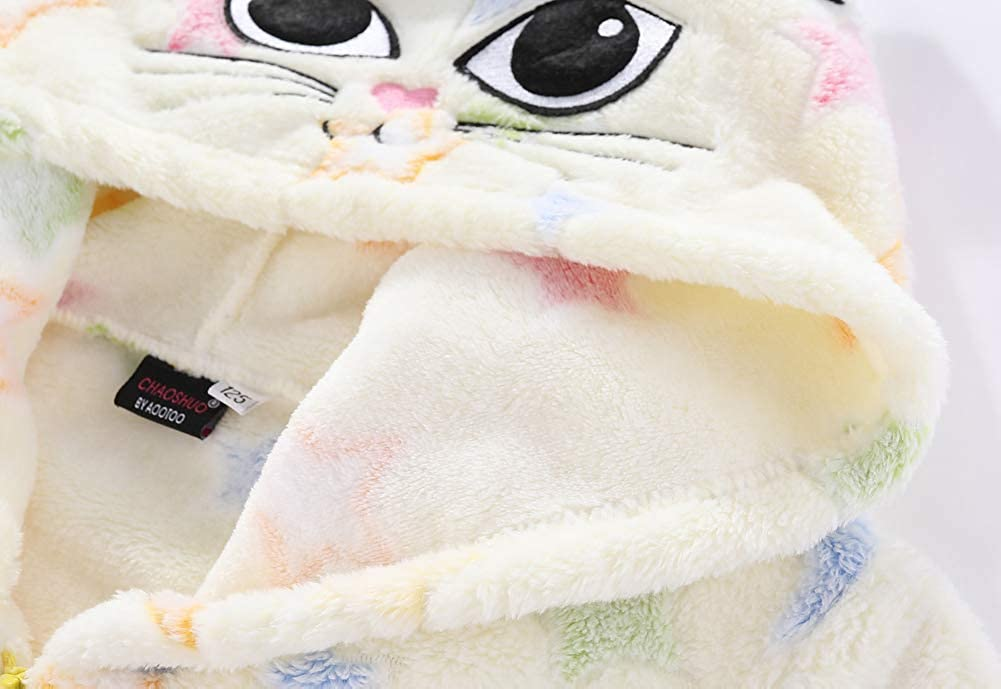 CHAOSHUO Little Girls Jacket Fleece Hoodies Zip Up Cat Sweatshirts Kids Outwear