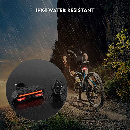 Elgary Bike Tail Light with Turn Signals Brake Light-Wireless Remote Control Waterproof Bicycle Taillight-USB Rechargeable Ultra Bright Safety Flashing Light Fits on Any Road Bicycle