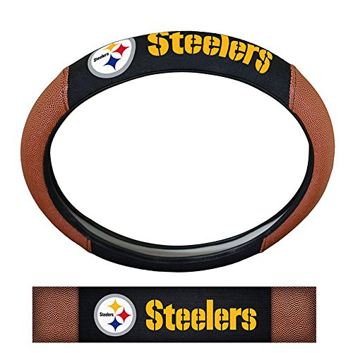 Pittsburgh Steelers NFL Team Logo Auto Car Truck SUV Vehicle Universal Fit Poly-Suede Mesh with Football Skin Premium Embroidered Steering Wheel Cover at SteelerMania
