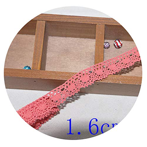 5 yard25MM Cotton lace Fabric for Home Decoration Garment Accessories Home Textile Materials DIY Manual dentelleRose and Pink,Pink 1.6cm 5yard