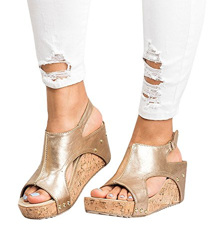 Ruanyu Womens Wedges Sandals Platform Peep Toe Slingback Summer Cork Sandals Gold ()