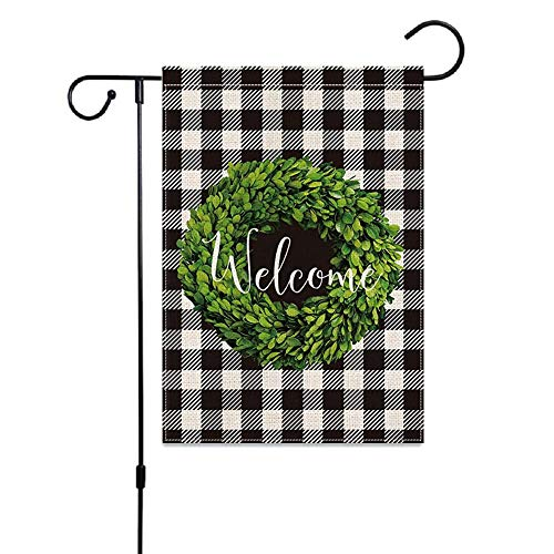 """Cruis Cuka Welcome Garden Flags 12x18"""" - UV Fade Resistant - Easy Installtion - Double Sided Burlap. Farmhouse garden flag for Thanking Giving Halloween Holiday and other holiday Decorations."""