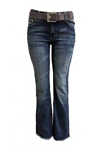 Y O Y O  Women's Mid Rise Classic Boot Cut Jeans Flattering