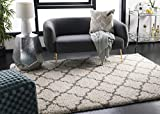Safavieh Hudson Shag Collection SGH282A Ivory and Grey Moroccan Geometric Quatrefoil Area Rug (6' x 9')