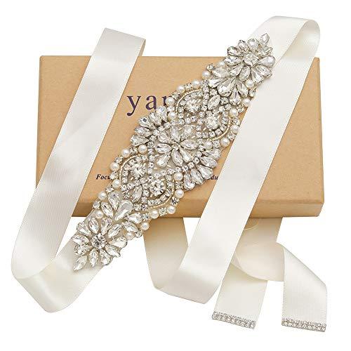 Yanstar Silver Crystal Beads Rhinestone Wedding Bridal Belt Sash With Cream Ribbon For Bridesmaid Wedding Party Porm Gown Dress (Wedding Gown Belt)
